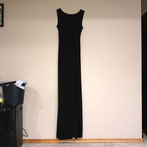 Women's Black Tight Prom Dress with Pearls on Back